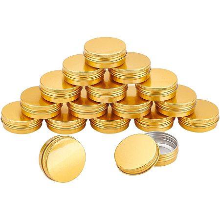 Aluminum Box, with Screw Top Lid, Round, Golden, 5.5x2.1cm, Inner diameter: 4.85cm, 24pcs/box