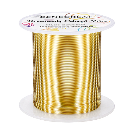 BENECREAT Copper Wire, for Wire Wrapped Jewelry Making, Light Gold, 23 Gauge, 0.6mm; about 50m/roll