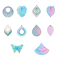 201 Stainless Steel Filigree Big Pendants, Etched Metal Embellishments, Mixed Shapes, Rainbow, Multi-color, 82x82x27mm; 100pcs/set