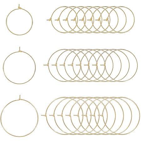 PandaHall Elite Brass Wine Glass Charms Rings, Hoop Earring Findings, DIY Material for Basketball Wives Hoop Earrings, Nickel Free, Real 18K Gold Plated, 21 Gauge, 37x35x0.7mm, 30pcs/box