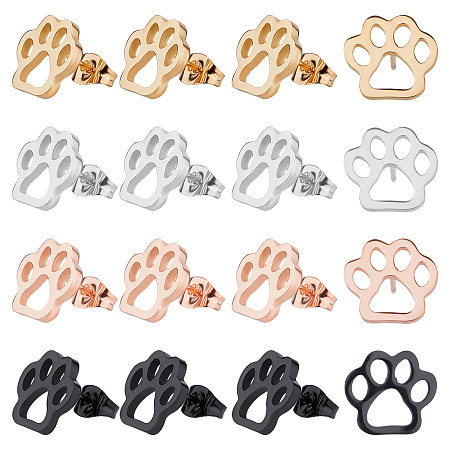 UNICRAFTALE Stainless Steel Stud Earrings, Cat Paw Prints, Mixed Color, 12x10.5x1.5mm, Pin: 0.8mm, 4 colors, 3pairs/color, 12pairs/box