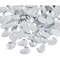 Acrylic Rhinestone Flat Back Cabochons, Faceted, Buttom Silver Plated, teardrop, Clear, 25x18x5mm; 100pcs/box