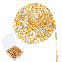 SUNNYCLUE Soldered Brass Paperclip Chains, Flat Oval, Drawn Elongated Cable Chains, Golden, 7.6x2.6x0.5mm, 10m/box