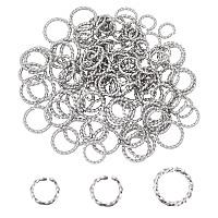 Unicraftale 304 Stainless Steel Jump Rings, Open Jump Rings, Twisted, Stainless Steel Color, 18 Gauge, 6~10x1mm, 120pcs/set