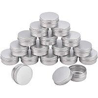 Aluminum Box, with Screw Top Lid, Round, Platinum, 3.7x1.7cm, Inner diameter: 3cm; 36pcs/set