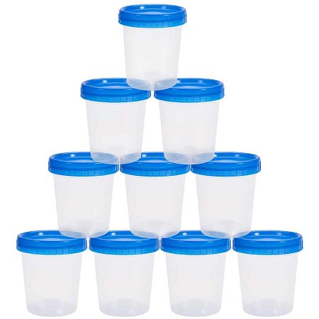 Arricraft 12 pcs 120ml/40oz Slime Cups Clear No-Spill Paint Cups with Blue Screw Lids Plastic Measuring Cups Storage Containers Classroom Pack Painting Supply