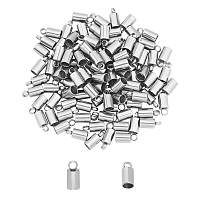 Unicraftale 304 Stainless Steel Cord Ends, End Caps Glue in Barrel End Caps, Cord Finding for Kumihimo Jewelry Making, Stainless Steel Color, 8.5x4mm, Hole: 1.8mm; Inner Diameter: 3mm, 100pcs/box