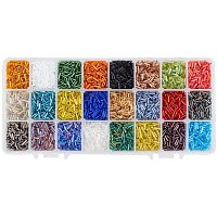 PandaHall Elite About 8400 Pcs Multicolor Beading Glass Bugle Seed Beads 24 Colors Silver Lined Tube Spacer Bead Length 6mm for Jewelry Making