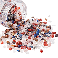 Natural & Synthetic Mixed Stone Beads, Chip, No Hole/Undrilled, Mixed Dyed and Undyed, 6~11x5~9mm; about 300g/box