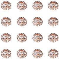 NBEADS Brass Beads, with Grade A Rhinestone, Rondelle, Rose Gold, Crystal, 12x10mm, Hole: 3mm; 30pcs/box
