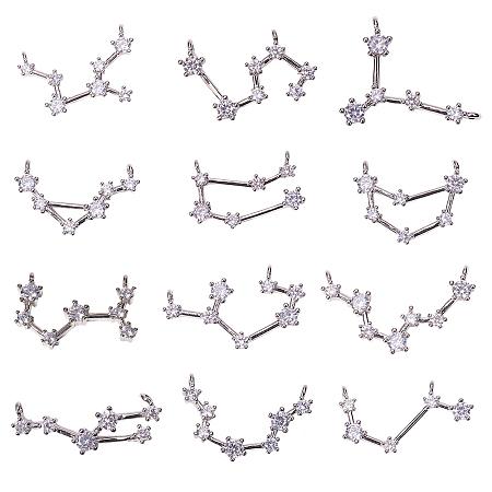 SUNNYCLUE Brass Micro Pave Cubic Zirconia Pendants, Twelve Constellations, Clear, Platinum, 10.5~19x22~29x2.5~3.5mm, Hole: 1.5mm; 12pcs/box