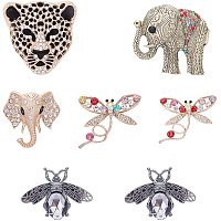 Olycraft Alloy Cabochons, with Glass Rhinestone, Mixed Animal Shapes, Mixed Color, 7pcs/box
