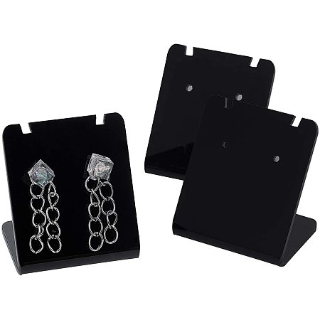 L-Shaped Organic Glass Earring Displays, Leaning Earring Stands, Rectangle, Black, 3.5x3.4x2.7cm