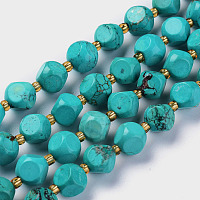 Arricraft Natural Turquoise Beads Strands, with Seed Beads, Six Sided Celestial Dice, 8~8.5x8~8.5mm, Hole: 1mm, about 40pcs/strand, 15.75inches(40cm)