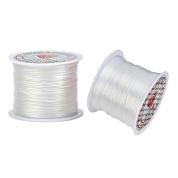Flat Elastic Crystal String, Elastic Beading Thread, for Stretch Bracelet Making, White, 0.5mm; about 45m/roll