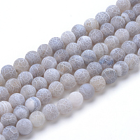 Arricraft Natural & Dyed Crackle Agate Bead Strands, Frosted Style, Round, Light Grey, 8mm, Hole: 1mm, about 47pcs/strand, 15.5 inches
