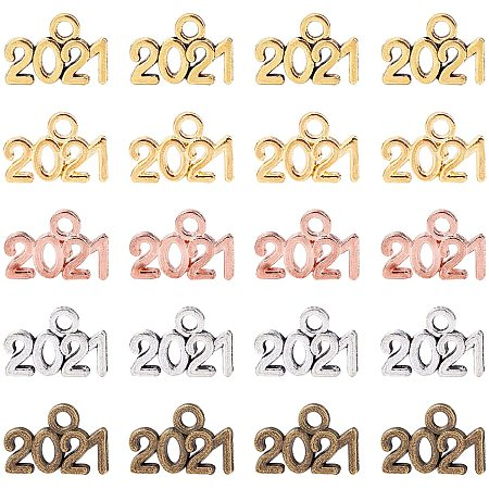 Alloy Charms, Number 2021, Mixed Color, 9.3x13.5x1mm, Hole: 1.8mm, 200pcs/box