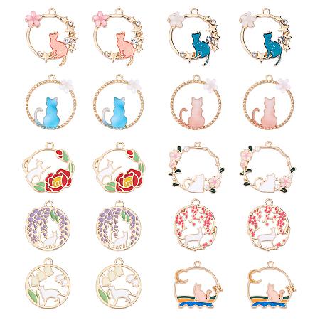 SUNNYCLUE Alloy Pendants, with Enamel, Mixed Shapes, Golden, 20pcs/box