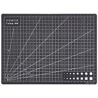 Gorgecraft PVC Cutting Mat Pad, for Desktop Fine Manual Work Leather Craft Sewing DIY Punch Board, Black, 300x220x3mm