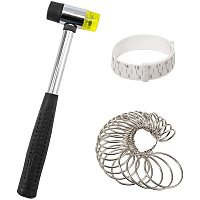 Arricraft 3 Pack Jewelry Making Tool Including 1 Piece Rubber Jewelers Hammer 1 Piece Plastic Wrist Measurement Tool 27 Pcs Circle Models