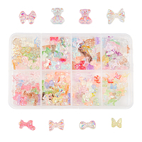 Olycraft Resin Cabochons, Nail Art Decoration Accessories, AB Color Plated, Butterfly & Bowknot, Mixed Color, 240pcs/box