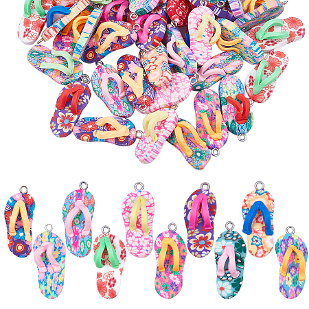 SUNNYCLUE Handmade Polymer Clay Pendants, with Alloy Findings, Flip-flops, Mixed Color, 30~32x13x9mm, Hole: 2.5mm; 50pcs/set