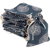 Polycotton(Polyester Cotton) Packing Pouches Drawstring Bags, with Printed Tree, Gray, 14x10cm