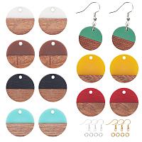 Olycraft DIY Dangle Earring Making Kits, include Resin & Walnut Wood Pendants, Brass Earring Hooks, Brass Jump Rings, Flat Round, Mixed Color, Pendant: 18x3.5mm, Hole: 1.5mm; 8 colors, 2pcs/color, 16pcs/box