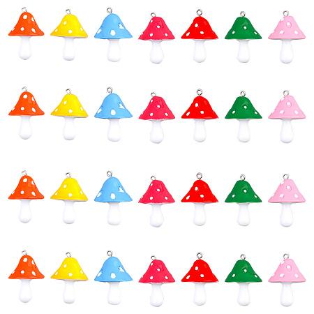 SUNNYCLUE Resin Pendants, Mushroom, Mixed Color, 34~36x22~26x22~26mm, Hole: 2mm, 7 colors, 4pcs/color, 28pcs/set