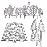 CRASPIRE Christmas Tree Frame Carbon Steel Cutting Dies Stencils, for DIY Scrapbooking/Photo Album, Decorative Embossing DIY Paper Card, Matte Platinum Color, 3pcs/set
