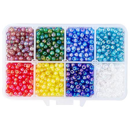 SUPERFINDINGS 6/0 Transparent Colours Rainbow & Opaque Colours Rainbow & Frosted Colours Glass Seed Beads, Round, Mixed Color, 4x3mm, Hole: 1mm; 8 colors, 200~250pcs/color, 1600~2000pcs/box