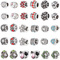 SUNNYCLUE Antique Silver Plated Alloy European Beads, Large Hole Beads, with Rhinestone, Mixed Shapes, Mixed Color, 30pcs/box