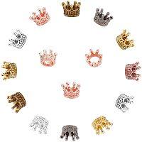 Arricraft Alloy European Beads, Large Hole Beads, Crown, Mixed Color, 10.5x7mm, Hole: 6mm; 8 colors, 6pcs/color, 48pcs/box