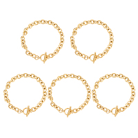 Unicraftale 304 Stainless Steel Cable Chain Bracelets, with Toggle Clasps, Golden, 8-5/8 inches(22cm), 8mm; 5pcs/box