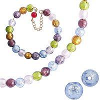 Handmade Silver Foil Lampwork Beads, Round, Mixed Color, 9.5~10mm, Hole: 1.5~2mm; 6 Colors, 4pcs/color, 24pcs/box
