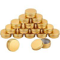 Aluminum Box, with Screw Top Lid, Round, Golden, 3.7x1.7cm, Inner diameter: 3cm; 24pcs/box