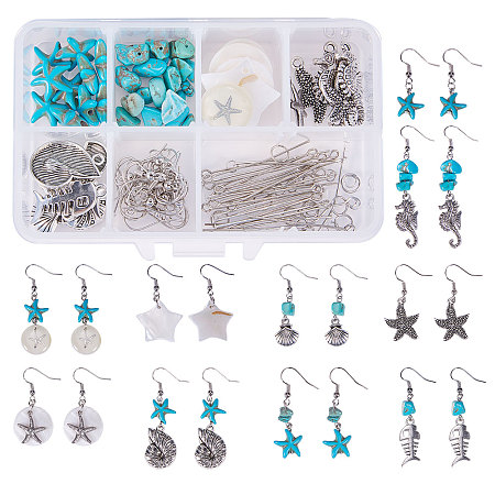 SUNNYCLUE DIY Earring Making, with 316 Surgical Stainless Steel Pendants, Freshwater Shell Pendants, Synthetic Turquoise Beads and Brass Earring Hooks, Mixed Color, 11x7x3cm