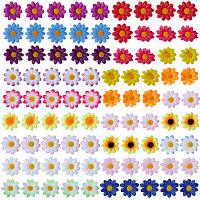 SUNNYCLUE Handmake Silk Cloth Sunflower, Artificial Flower Head, For Wedding Party Decoration, Mixed Color, 40x16~17mm; Inner Diameter: 2mm, 5pcs/color, 90pcs/set
