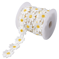 Gorgecraft Daisy Sun Flower Decorating Polyester Lace Trims, for Sewing and Art Craft Projects, with Plastic Spools, White, 1 inches(24.5mm), 5yards/roll(4.57m/roll)
