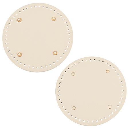 PU Leather Flat Round Bag Bottom, for Knitting Bag, Women Bags Handmade DIY Accessories, PeachPuff, 181x9.5mm, Hole: 4.5mm