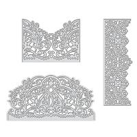 Carbon Steel Cutting Dies Stencils,  for DIY Scrapbooking/Photo Album, Decorative Embossing DIY Paper Card, Lace Card, Matte Platinum Color, 150x49x0.83mm, 150x77x0.83mm, 100x74mm; 3pcs/set