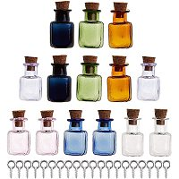 GORGECRAFT Gorgecraft Mini High Borosilicate Glass Bottles, with Cork Stoppers, Wishing bottles, with Iron Screw Eye Pin Peg Bails, Mixed Color, Bottle: 14pcs/set, Screw Eye Pin Peg Bails: 20pcs/set