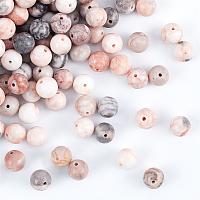 Olycraft Natural Pink Zebra Jasper Beads, Round, 8.5~9mm, Hole: 1mm, about 180~200pcs/box