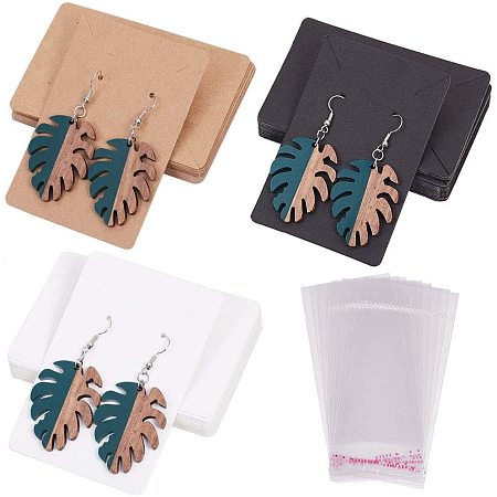 SUNNYCLUE Cardboard Display Cards Sets, Used For Necklace and Earring, with OPP Cellophane Bags, Mixed Color, 9x6cm