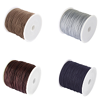 Unicraftale Braided Nylon Thread Nylon String for Beading Jewelry Making, Mixed Color, 0.8mm; about 100yards/roll, 91.44m/roll, 4 colors, 1roll/color, 4rolls