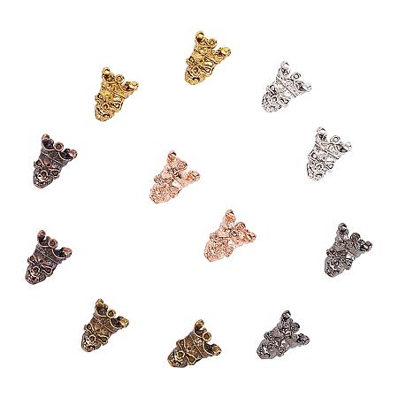 Chgcraft Tibetan Style Alloy Beads, Skull Head, Antique Bronze & Antique Golden & Antique Silver & Gunmetal & Rose Gold & Red Copper, 13x10.5x9.5mm, Hole: 3mm; 6 colors, 10pcs/color, 60pcs/box