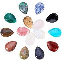 PandaHall Elite 15 Pcs Water Drop Gemstone Cabochon Flatback Beads 25x18x6mm for Photo Craft Jewelry Making 15 Styles