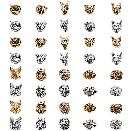 SUNNYCLUE Animals Theme Tibetan Style Alloy Beads, Mixed Shapes, Mixed Color, 9~15x11~15x7~18mm; 40pcs/set