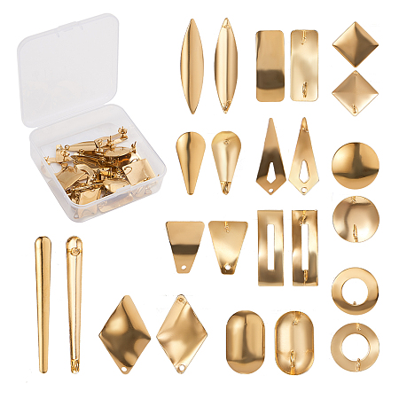 SUNNYCLUE 304 Stainless Steel Stud Earring Findings, with Loop and Ear Nuts/Earring Backs, Golden, 74x73x25mm; 24pcs/box