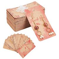 Arricraft Cardboard Earring Display Cards, Rectangle, with Plastic Ear Nut, BurlyWood, Display Cards: 120pcs/set, Ear Nuts: 100pcs/set